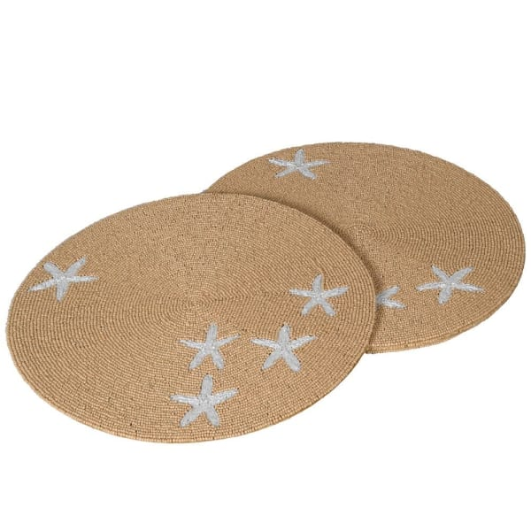 4 STARFISH BEADED PLACEMATS