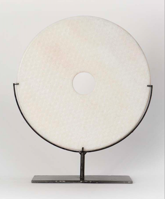 25cm White Marble Bi Disc with dots