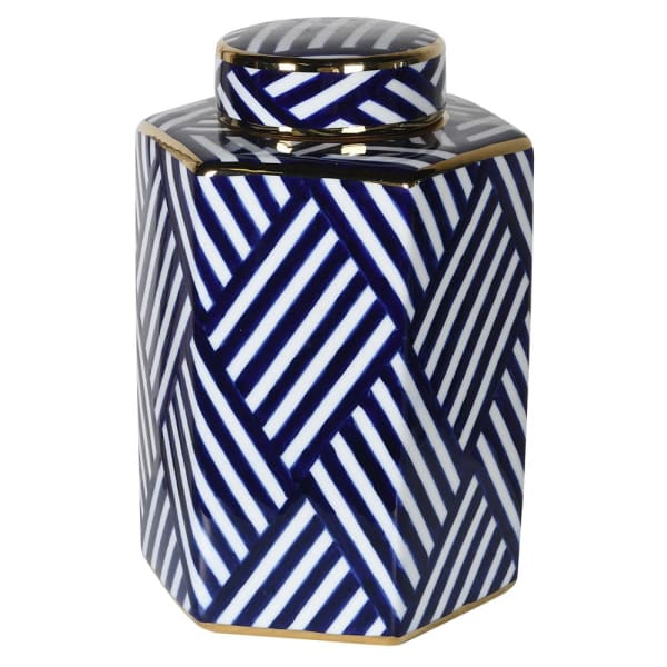 Blue/white Striped Jar with lid