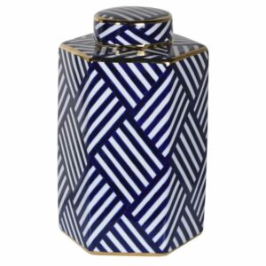 Lg Blue and White Striped Jar with lid