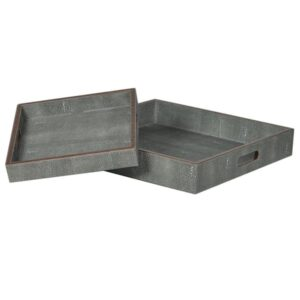 SET OF 2 faux shagreen trays